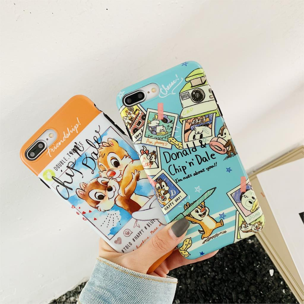 Cute Cartoon Funda For Iphone X Case Chip And Dale Matte IMD Phone Case For Iphone X XR XS Max 6 6S 7 8 Plus Cover Soft TPU Capa