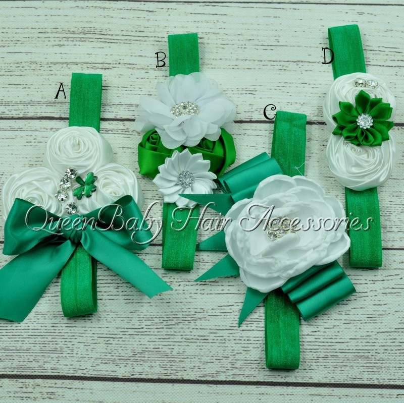 30pcs/lot Saint Patricks Day Headband Shamrock Headband Green Headband Baby Headband ...