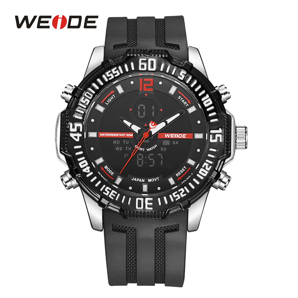 WEIDE Mens Casual Sport Watch Alarm Date Digital Stopwatch Back Light Rubber Strap Analog Quartz LCD