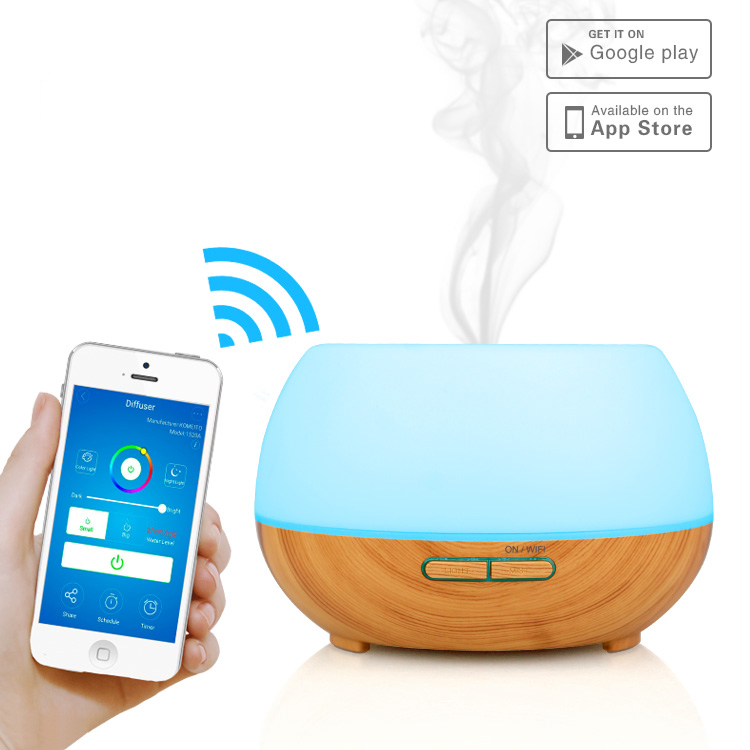 300ml remote control smart wifi LED colorful Aroma Diffuser Aromatherapy Essential Oil Diffuser with Wood Grain Ultrasonic Cool colorful stripes wood grain flannel area rug