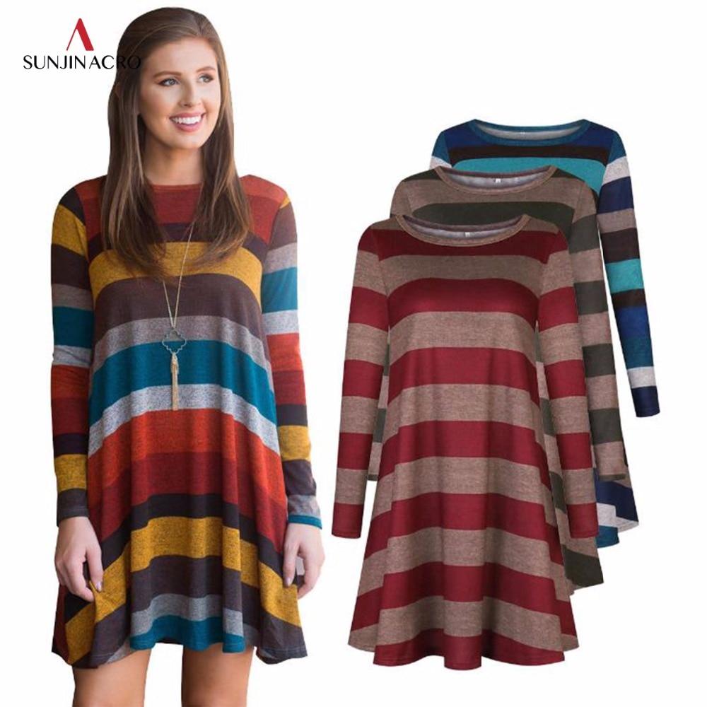 SUNJINACRO Casual Striped Dress O Neck Women Long T Shirt Top Tee Boho vestido Autumn Style Beach Wear Preppy Desses