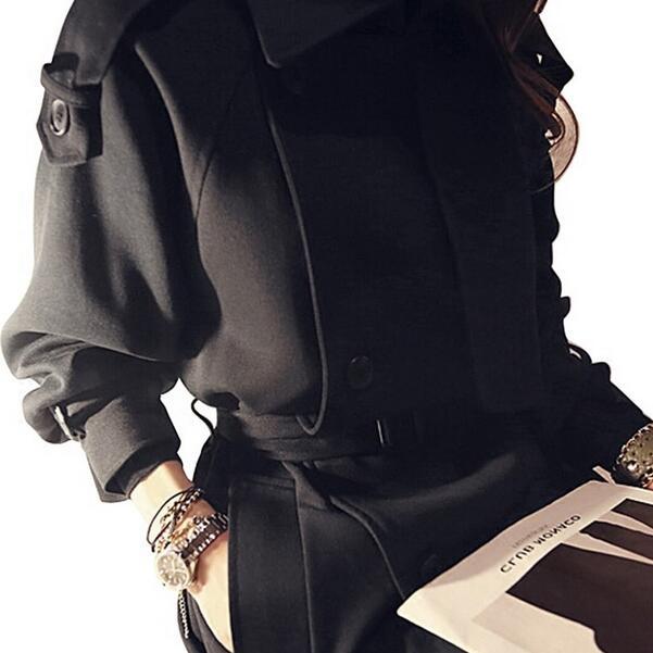Cappotto Nero Maglia Lunga Del amp; Vento Manica 2019 E Capo Giacca Outwear Dc82 Autunno Spring Trench New Lungo Donna Impermeabili A Di AqvwE8