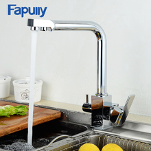Fapully Square Filter Faucets Kitchen 3 Way Water Tap Dual Lever Kitchen Taps Chrome Musluk Deck Mounted Water Purifier Faucet цена и фото