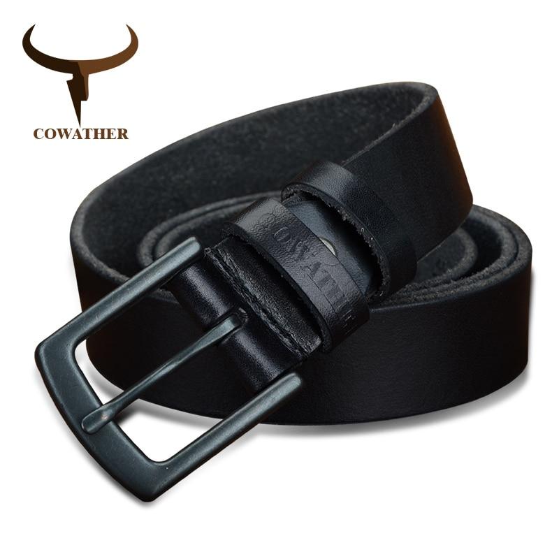 COWATHER 100% Cowhide Genuine Leather Belts For Men Vintage 2019 New Design Male Strap Ceinture Homme 110-130cm MEN Belt