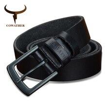 COWATHER 100% جلد البقر أحزمة جلد طبيعي للرجال خمر 2019 تصميم جديد الذكور حزام ceinture أوم 110 130 سنتيمتر الرجال حزام