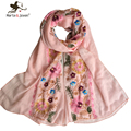 [Marte&Joven] Autumn Female Ethnic Style Flower Cluster Embroidery Cotton Scarf For Women Casual Sunscreen Beach Shawl and Wraps