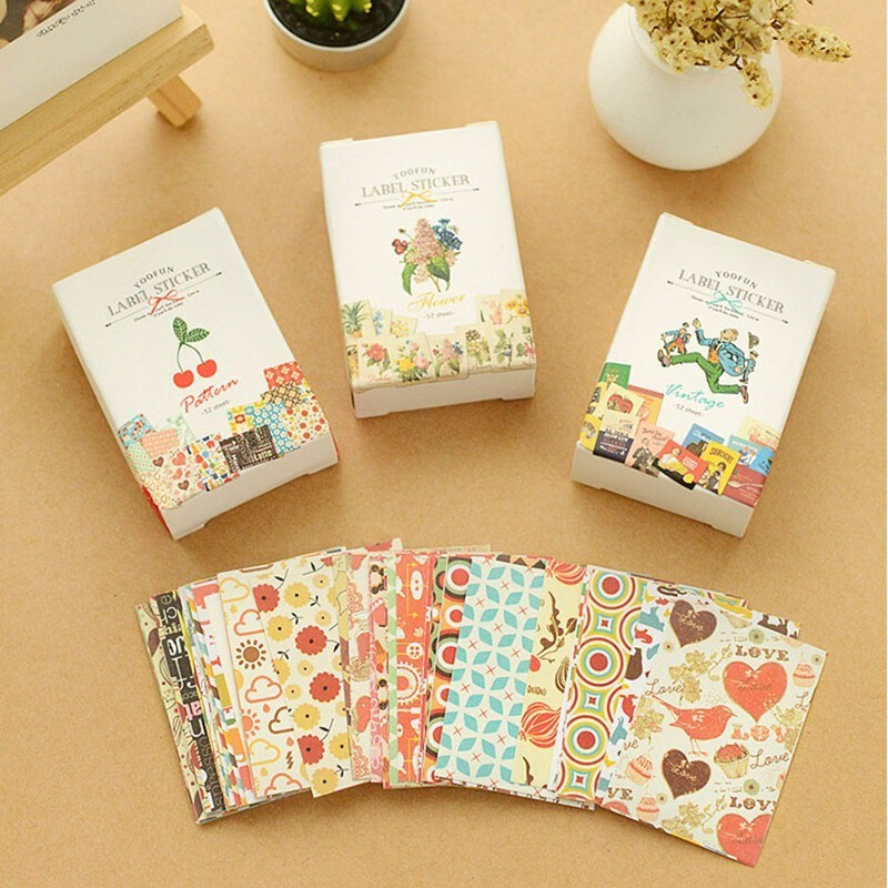 52PCS/Pack Lovely Pattern Paper Sticker Sticky Decoration Decal DIY Album Diary Material Stationery Kawaii Scrapbooking Stickers