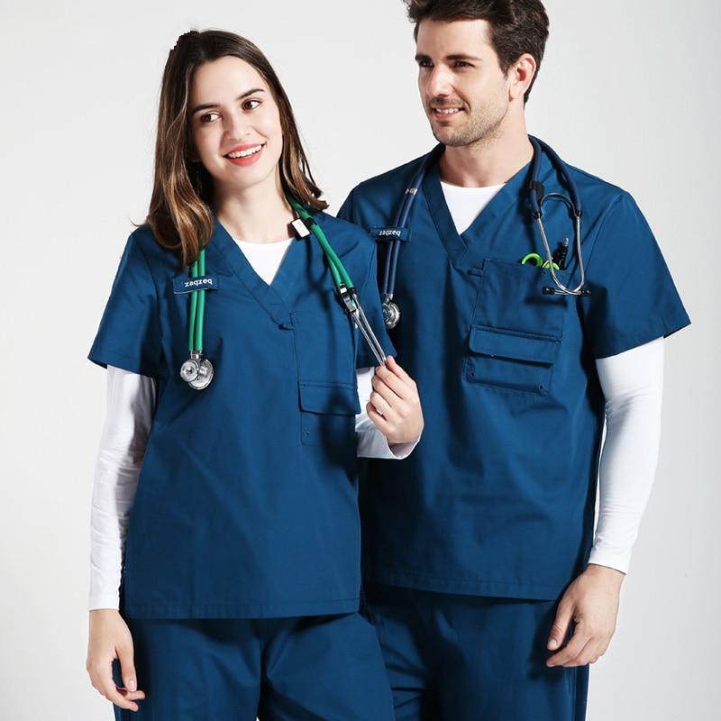Plus Size Nursing Scrubs For Women And Men Scrub Nurse Uniforms Medical Work Sets V Neck Stylish Dentist Surgeon Working Clothes