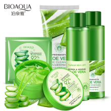 BIOAQUA Women Face Care Set Aloe Vera Gel Cream Natural Aloe Vera Moisturizing Mask Essence Toner Skin Care Face 5pcs/set pure and natural moisturizing aloe vera gel