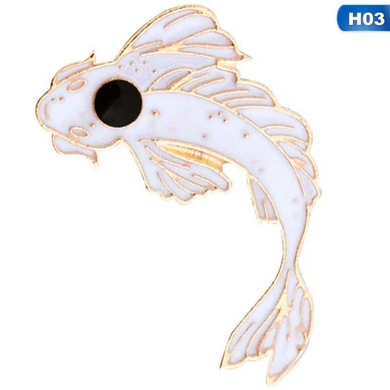Pink Putih Bros Lucu Ikan Mas Ikan Mas Enamel Pin Denim Kerah Ikan Lencana Keluarga Anak Berkat Hadiah Teman Kepribadian Perhiasan