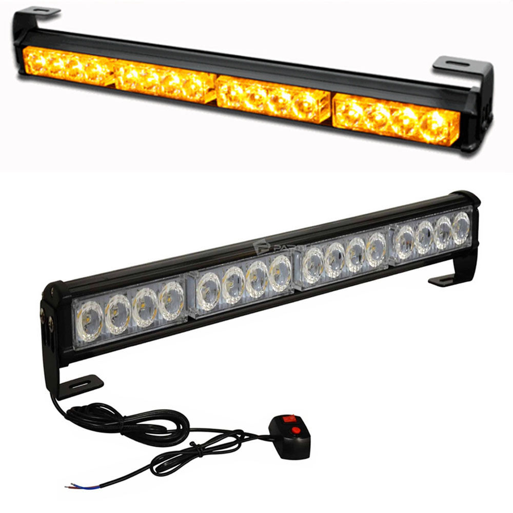 CYAN SOIL BAY 18 16 LED Emergency Warning Light Bar Traffic Advisor Vehicle Strobe Lamp Amber Yellow 45CM