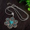 Venta al por mayor cosecha forma de la flor mujeres de decoración suéter collar turquesa de la joyería collar de piedra