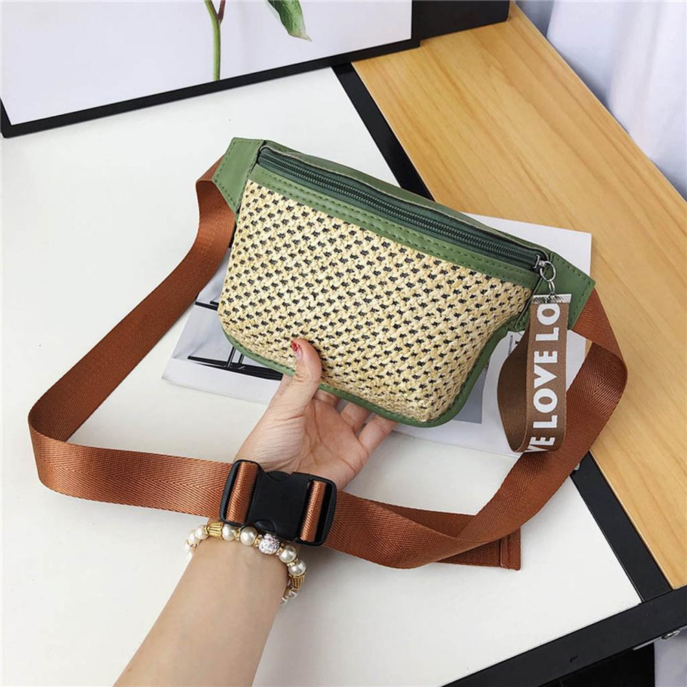 Fashion Lady Classic Woven Casual Wild Waist Bag Messenger Bag Chest Bag  Travel Waist Fanny Pack Holiday Money Belt