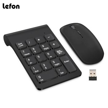 Lefon 2.4G Wireless Mini Digital Keyboard 18 Keys USB Number Numeric Keypad Pad Mouse For Laptop PC Notebook Desktop