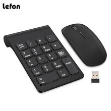 Lefon Wireless Numeric Digital Keyboard Mini 2.4G 18 Keys USB Number Keypad Pad + Mouse For Laptop PC Notebook Desktop