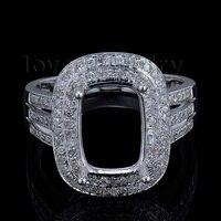 Nowe Popularne Solidna 14Kt White Gold Diamond Engagement Semi góra Pierścień Poduszka 8x11mm BAB1417