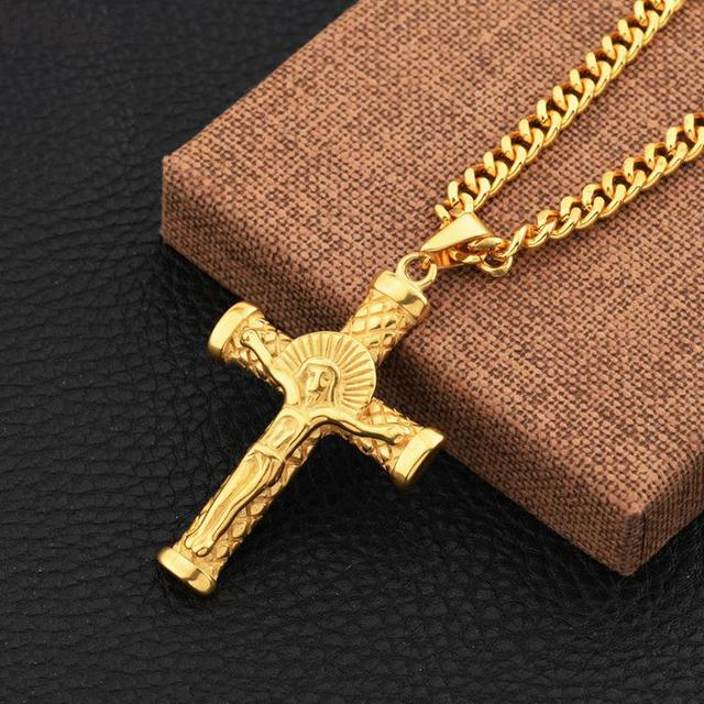 2 usage christian jewelry jesus cross necklaces pendants gold 2 usage christian jewelry jesus cross necklaces pendants gold color male stainless steel hip hop aloadofball Images