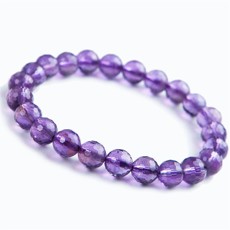 2c832fa2507d 8mm genuino natural púrpura estiramiento pulseras para mujer Femme charm  redonda transparente cara pulsera cristalina del grano