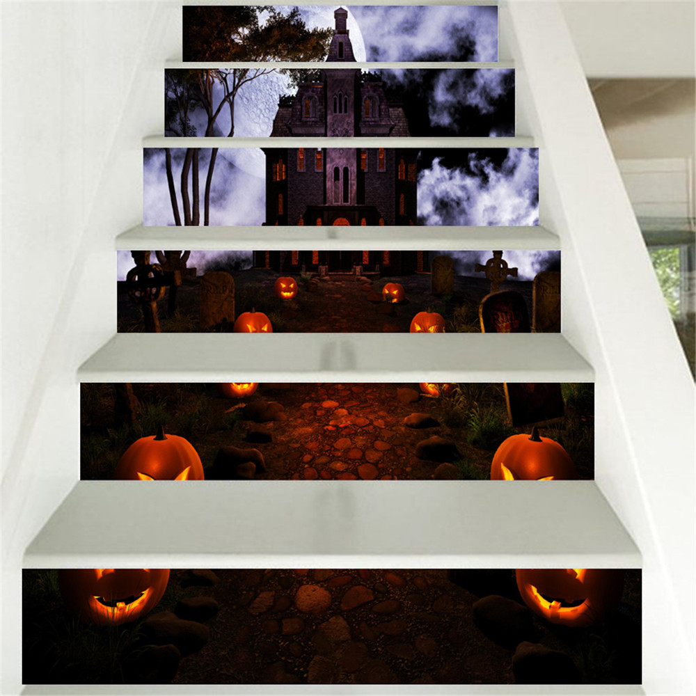 Halloween 3D Simulation Stair Stickers Waterproof Wall