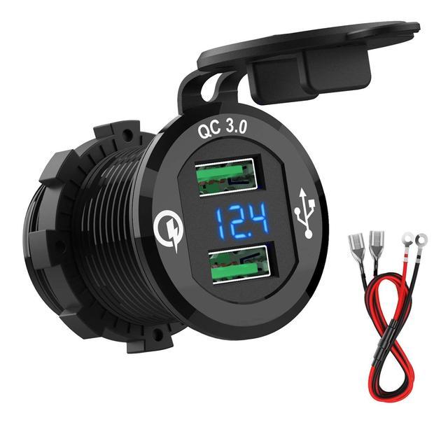 12 В/24 В быстрое зарядное устройство 3,0 QC3.0 Водонепроницаемый двойной зарядное устройство usb вольтметр 60 см кабель 10A предохранитель для машины, лодки, мотоцикла, грузовика гольфа