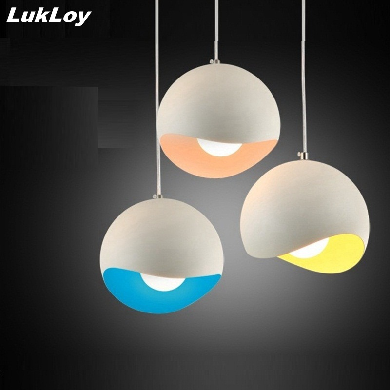 Lukloy moderne pendentif lampe lumi re ombre coquille d 39 oeuf color luminaire pour salle for Lumiere salle a manger