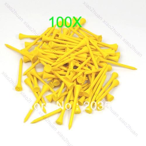 100pcs 70mm Brand New Golf Ball Wood Tee Tees  Yellow