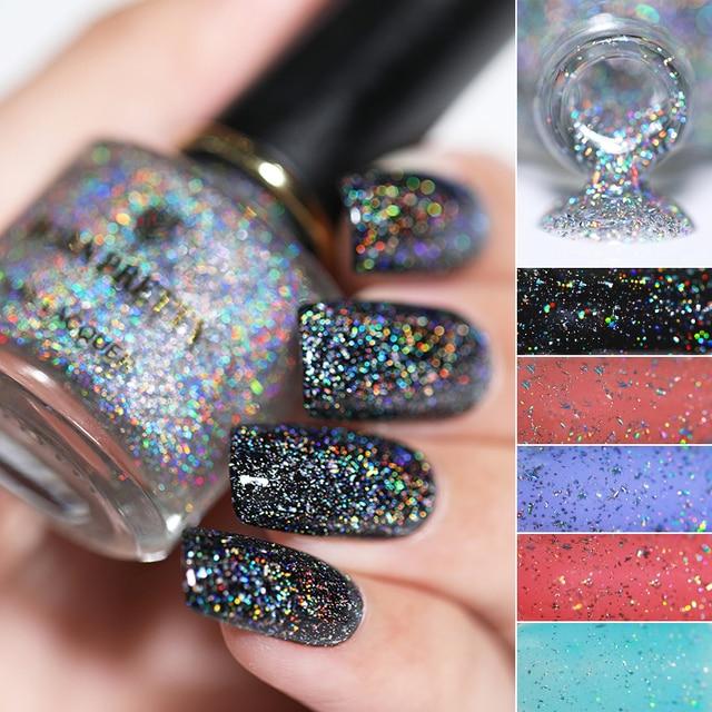 Born Pretty Holo Sequins Top Oil Nail Polish Galaxy Glitter Holographic Shining Lacquer 6ml Black Datura