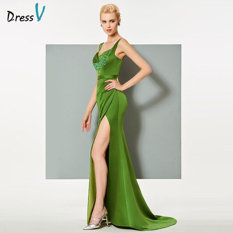 d8179e5b61 Dressv zielona długa suknia sweep pociąg spaghetti pasy syrenka backless  wesele suknia aplikacje suknia wieczorowa w Dressv zielona długa suknia  sweep ...
