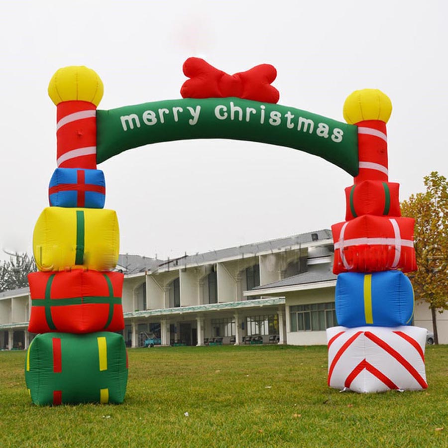 Free Fans Christmas Giant Inflatable Arch With Gift Boxes