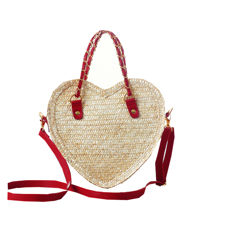 Travel holiday shopping totes lovely heart shape women handbags handmade knitted shoulder bag summer wheat straw