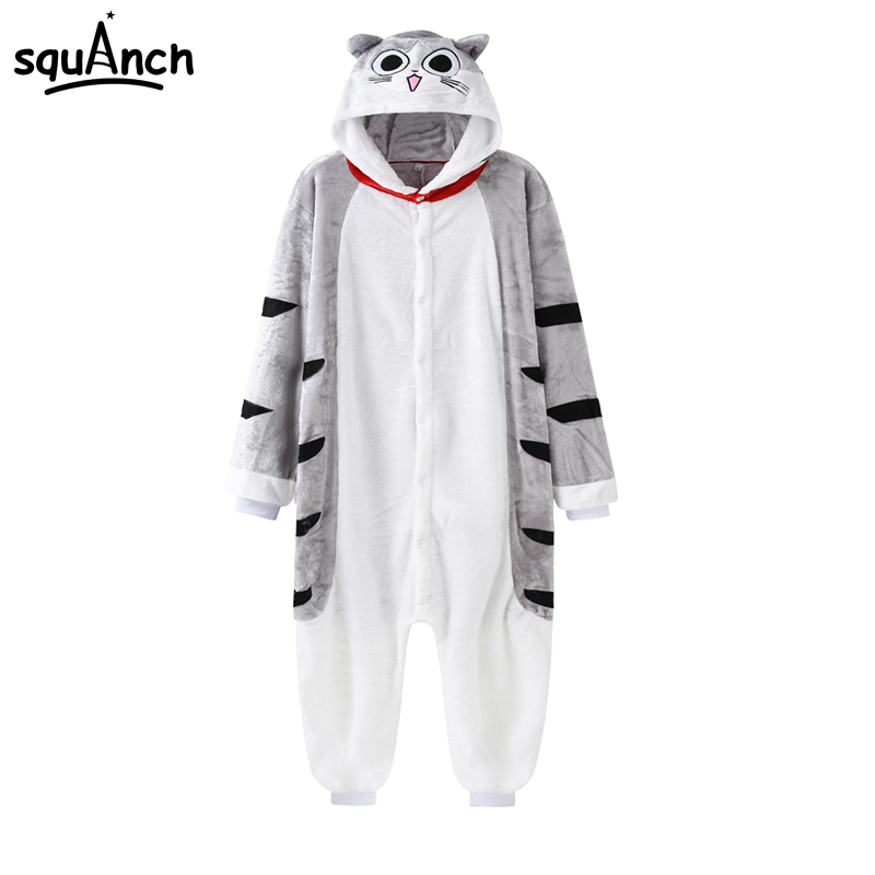 Cartoon Animal Kugurumi Chi Onesie Lovely Cat Pajama Women Adult Warm Thick Flannel Sleep Overalls Carnival Festival Party Suit