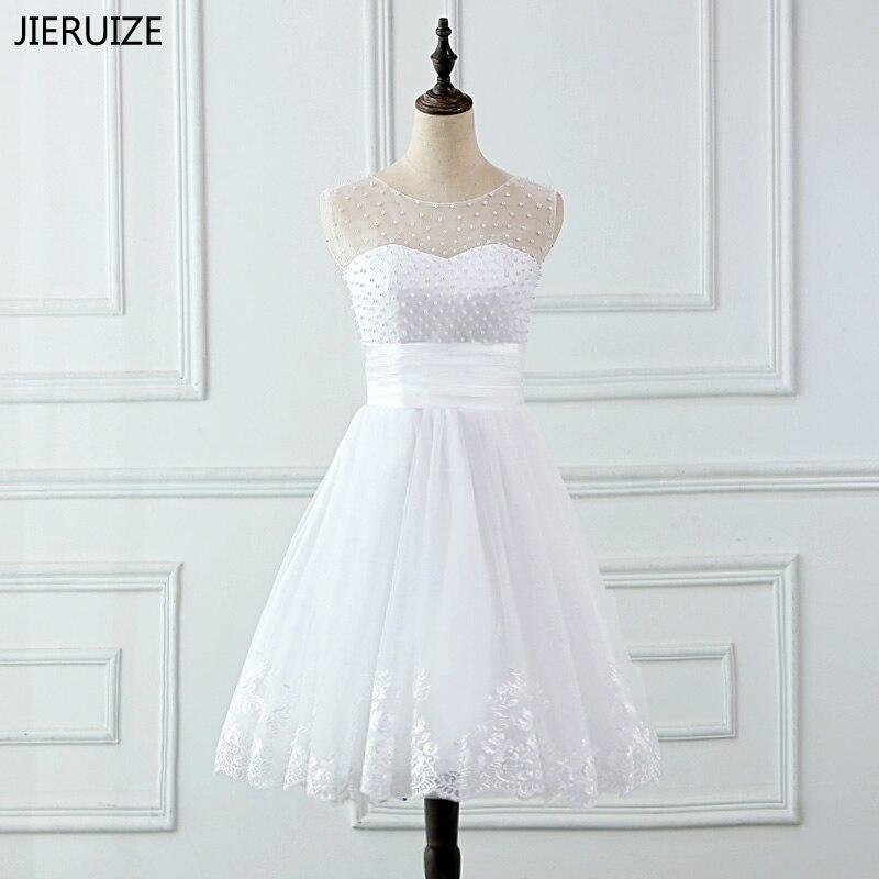 JIERUIZE vestidos de novia аппликационные Жемчужины для Кружева Короткие свадебные платья Кружево на спине дешевые robe de mariée
