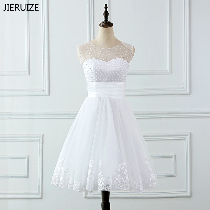 JIERUIZE pernikahan & de novia Renda Appliques Mutiara Pendek Wedding Dresses Lace Up Kembali Murah Wedding Gowns jubah de mariee