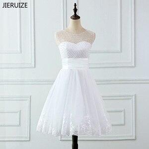 Image 2 - Jieruize vestidos de noiva, vestidos de noiva de renda com apliques de pérolas, curtos, lace up, baratos, de mariee