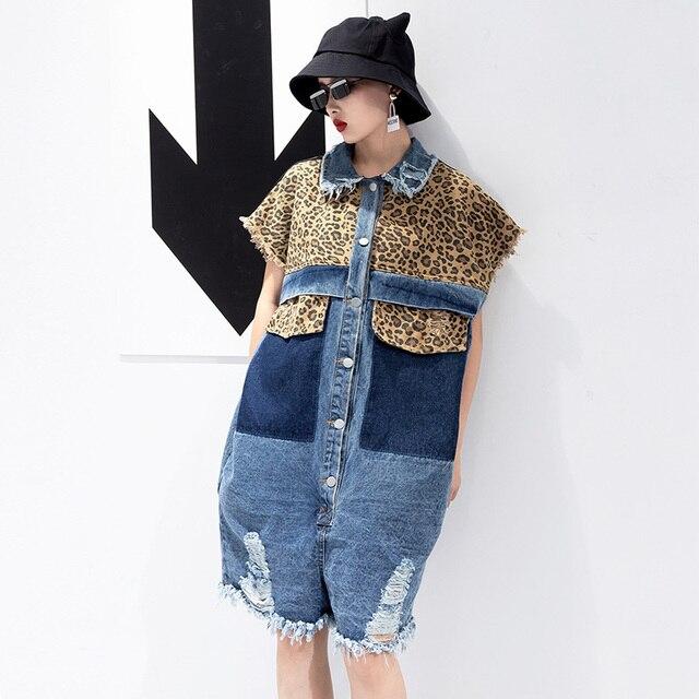 d7bcf71a4bc CheerSolo Summer Denim Playsuit Women Leopard Print Sleeveless Short  Jumpsuit Plus Size Loose Jean Overalls 2018