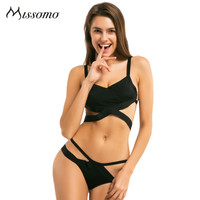 Missomo 2018 New Fashion Women Black Sexy Push Up Lace Cross Front Bralettes Solid Color Underwear