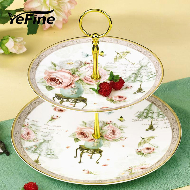 YeFine Cake Stand Holder Afternoon Tea Snack Double-deck Candy Dishes Dessert / Pastry Plates & YeFine Cake Stand Holder Afternoon Tea Snack Double deck Candy ...
