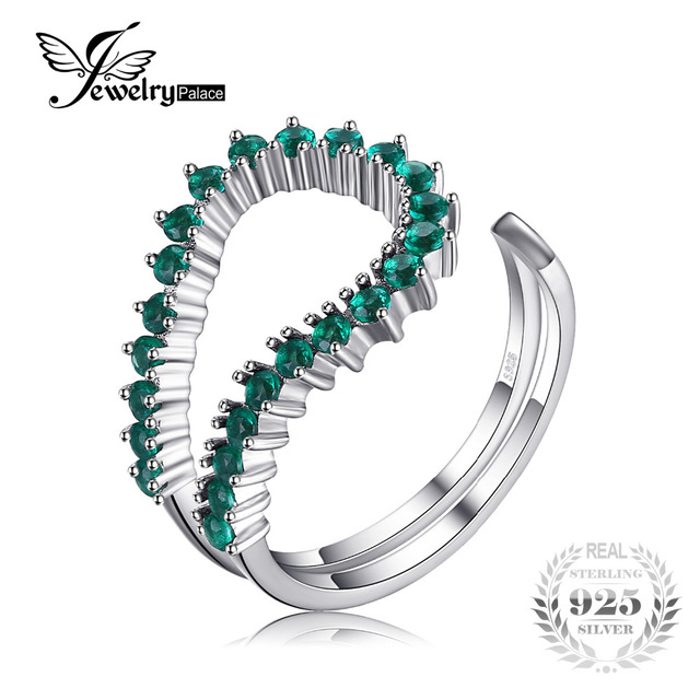 JewelryPalace Nano Russian Simulated Emerald Open Adjustable Ring 925 Sterling S