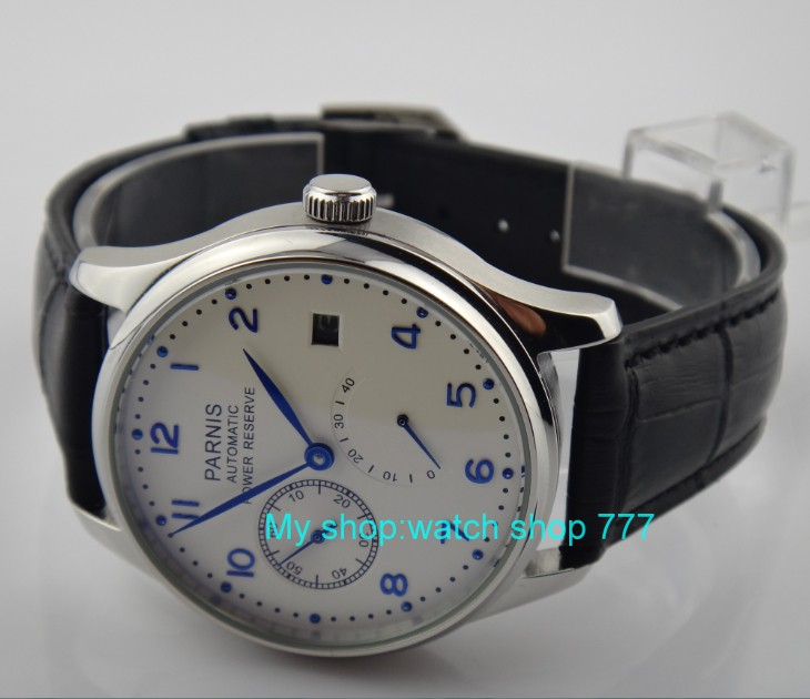 43 mm PARNIS white dial ST2530 Automatic Self-Wind movement men's watch power reserve Casual watch wholesale rnm2 hot sale 46mm parnis black dial power reserve white marks automatic men wrist watch
