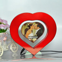 Surprise Magic Heart Moon Magnetic Levitation Rotating Photo Frame Gift With LED Light For Girl Friend