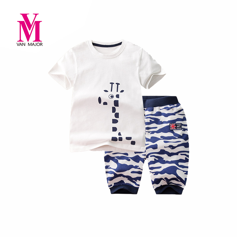 Summer Children Boy Clothe Sets Kids 2pcs Short Sleeves Cartoon T-Shirt Toddler Suits Camouflage Shorts Child Clothing Suit