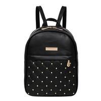Fashion Women Casual Travel Bead Backpack School Bags PU Leather Backpack For Teenage Girls Mochila Female