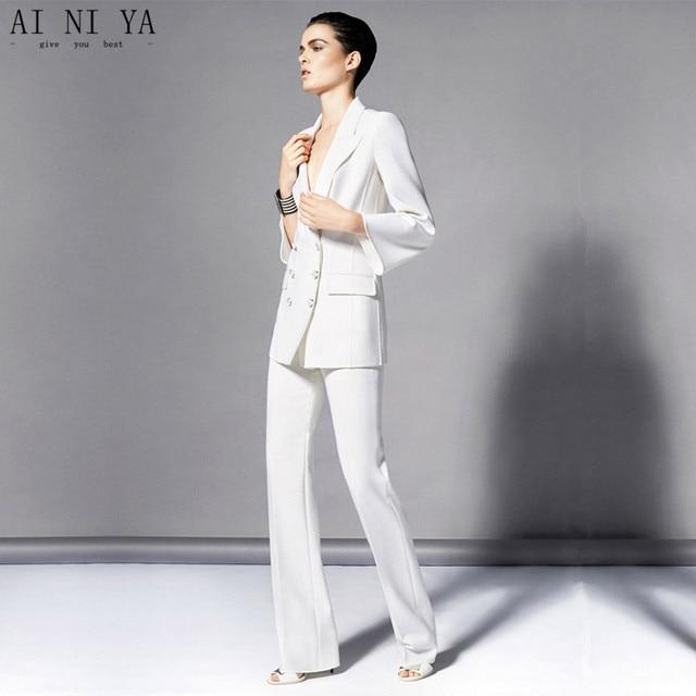 Jacket+Pants Womens Business Suit White Female Office Uniform Ladies Formal  Trouser 2 Piece Set Evening Tuxedos Double Breasted 91c5c7829724