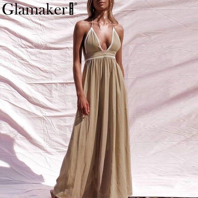 Glamaker Sexy lace up deep v-neck party maxi dress Women backless split strap dress Female elegant summer long Dresses vintage
