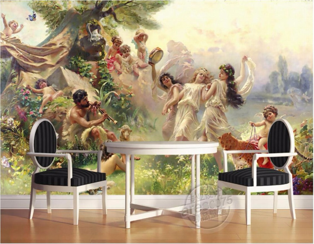 Custom Mural 3d Wallpaper Classical Angel Paradise Dance Party Decor
