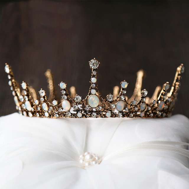 Crown Baroque Wedding Tiara Vintage Bridal Hair Accessories Jewelry Alloy Tiaras Beauty Royal Round