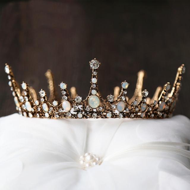 Crown Baroque Wedding Tiara Vintage Bridal Hair Accessories Jewelry Alloy Tiaras Beauty Royal Round