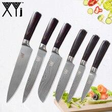 XYj дамасский вен из нержавеющей стали кухонный нож набор шеф-повара нарезки Santoku утилита фруктовый кухонный нож аксессуары инструменты