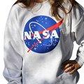 Новый Футболка Женская НАСА Отпечатано Пуловер Толстовка Свободные Перемычка Бейсбол Tee Топы