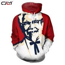CJLM 2018 Mùa Xuân Thời Trang Nam Hoodies 3d KFC In Đồ Họa O Cổ Áo Thường Dài tay áo Chui Coat Sudaderas Hombre
